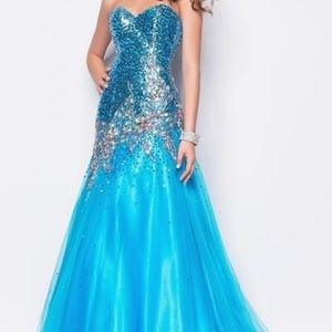 Formal prom dress with dramatic beads
